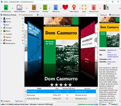 Interface simples e intuitiva com acesso ao título e dados complementares (Capa, resenha, palavras chaves etc.)