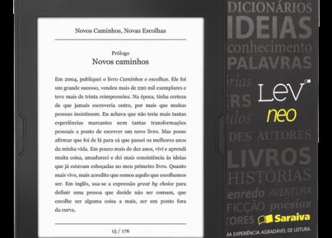 O Lev exibe o título do livro e número de página. Igual a um livro impresso.