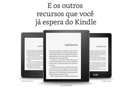 Os três principais modelos de Kindle em um recorte de anúncio da Amazon.